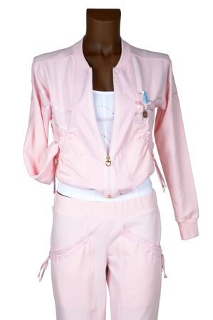 Female pink tracksuit on a white background photo