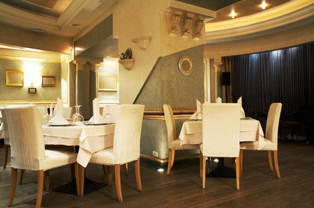 Beautiful and luxuus restaurant in modern hotel Stock Photo - 1380049