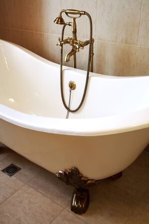 Magnificent bath with a beautiful bronze shower photo