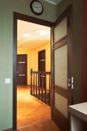 Glass door in a corridor to modern hotel Stock Photo - 1512043