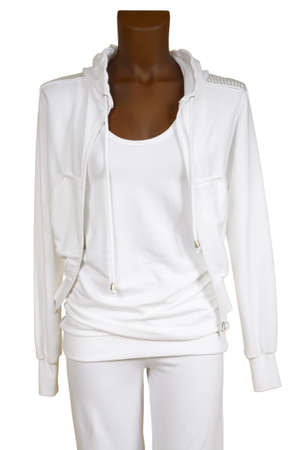 duffel: Female white tracksuit on a white background
