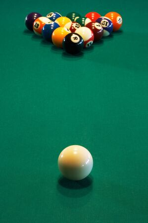 cloth halls: Spheres for game in a pool on a billiard table Stock Photo
