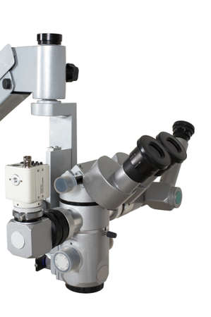 scrutiny: Medical microscope with the digital camera on a white background