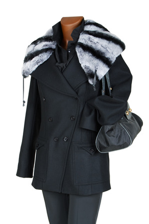 Winter female coat with a fur collar photo