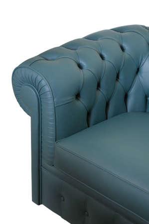 blue leather sofa: Divano in pelle blu scuro su fondo bianco Archivio Fotografico