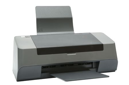 The modern inkjet printer on a white background photo