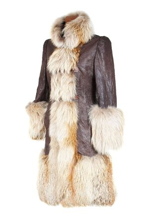 fox fur: Winter female coat with the fox fur
