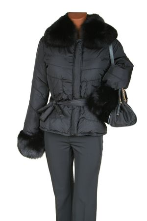 Jacket with fur and a bag on a white background photo