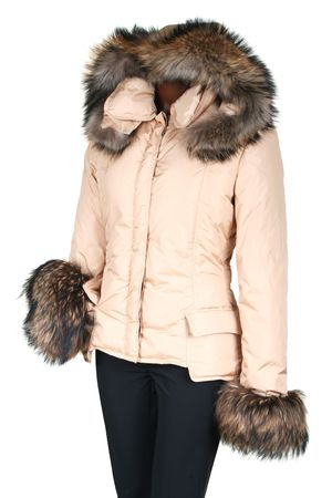 Female jacket with a hood on a white background photo