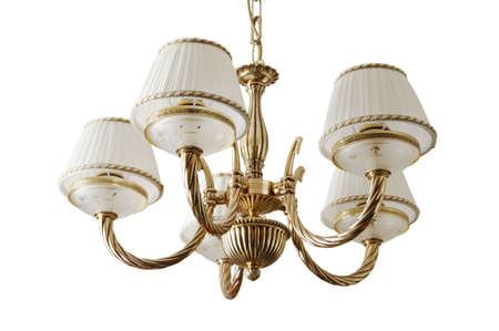 path to wealth: Beautiful and dear chandelier on a white background
