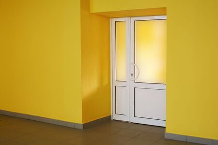 The glazed door in a yellow room Stock Photo - 2246238
