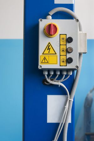 Control panel of the lift in car-care center Stock Photo - 2586677