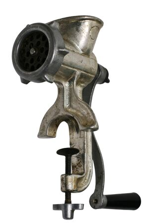 hand crank: Old triturador de carne en un fondo blanco