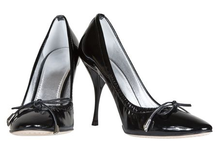 black female shoes on a white background Stock Photo - 2601291