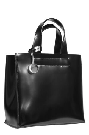 black leather bag on a white background photo