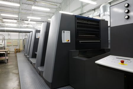 The equipment for a press in a modern printing house photo