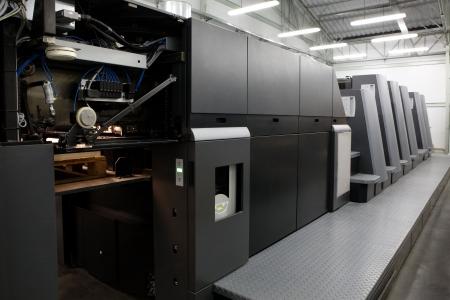 offsetdruck: Die Ausr�stung f�r eine Pressekonferenz in einer modernen Druckerei Lizenzfreie Bilder