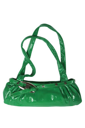 Modern green female bag on a white background photo
