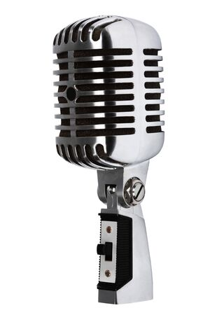 Beautiful old microphone on a white background photo