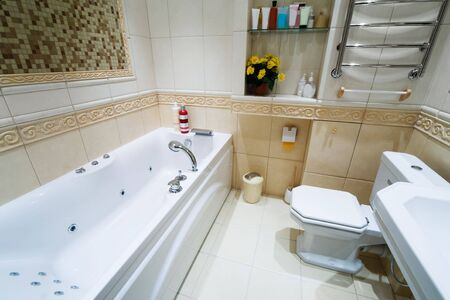 Toilet bowl and sink in a modern bathroom Stock Photo - 3098484