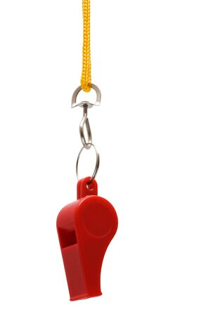 Beautiful red whistle on a yellow cord photo