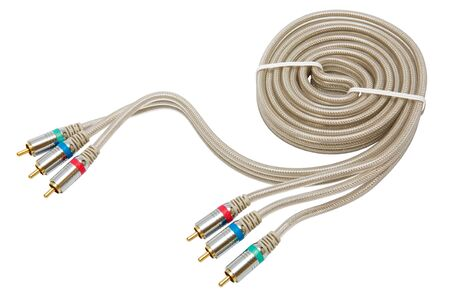 component video cable on a white background photo