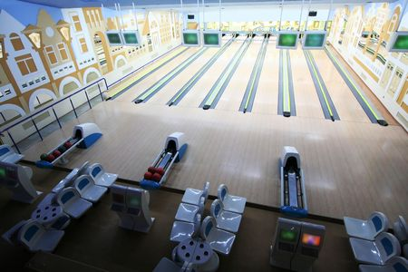 premise: Spheres in a modern premise for game in bowling Stock Photo
