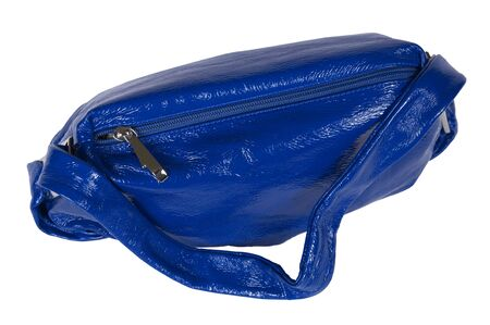 Dark blue female bag on a white background photo
