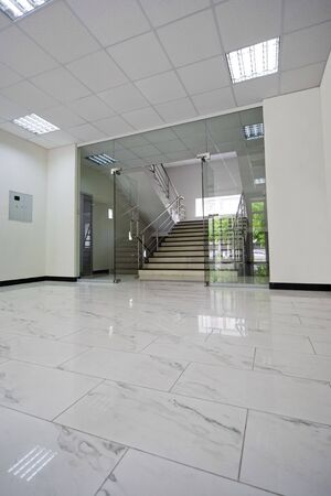 Glass doors with a kind on a marble staircase Stock Photo - 3262644