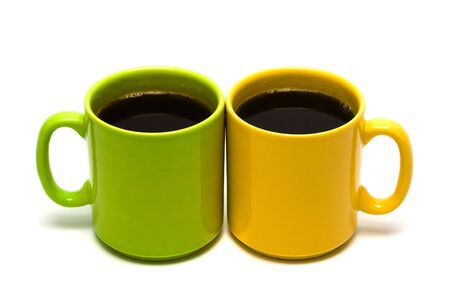 yellow and green mug on a white background Stock Photo - 3262641