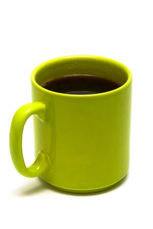green mug from coffee on a white background Stock Photo - 3343343