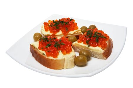 Sandwiches with butter both red caviar and olives photo