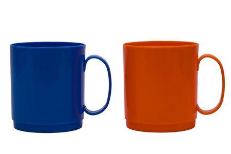 Dark blue and orange mug on a white background photo