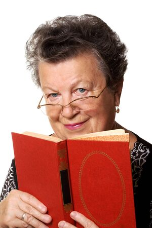 librarian: The old woman with the red book on a white background