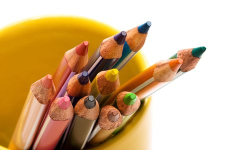 Beautiful color pencils on a white background photo