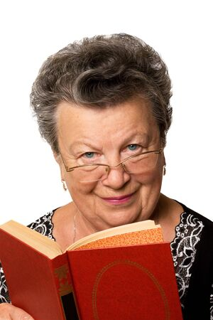 The old woman with the red book on a white background Stock Photo - 3559456