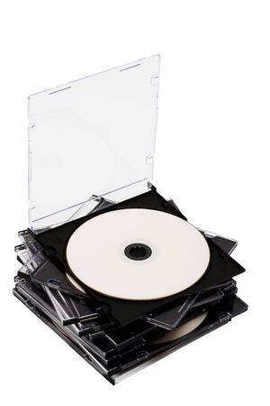 medium closeup: Disk cd in boxes on a white background