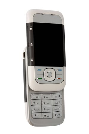 communications tools: Modern mobile phone on a white  Stock Photo