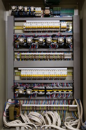 control centre: Color wires in a box of distribution of an electricity