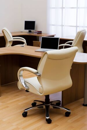 Beige leather armchairs at modern new office Stock Photo - 3794161