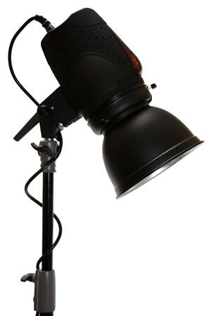 Modern powerful photographic flash on a white background photo