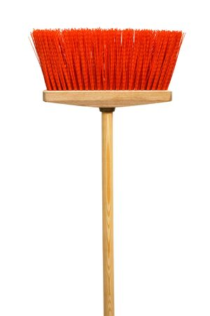 office cleanup: Beautiful red mop on a white background