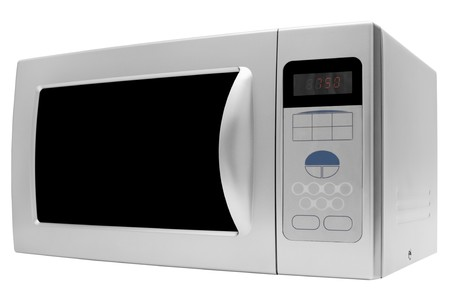 Modern microwave stove on a white background photo