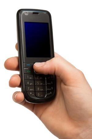 telefonu komórkowego w ręce na białym tle