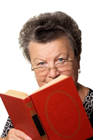 The old woman with the red book on a white background Stock Photo - 4183649