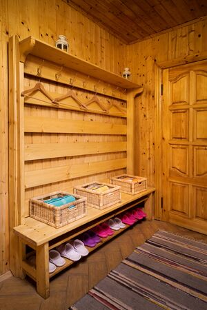 checkroom: checkroom in a wooden and beautiful sauna