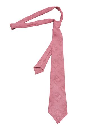 Fashionable pink necktie on a white background photo