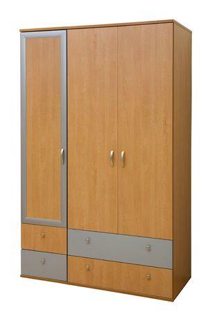 modern wooden wardrobe on a white background photo