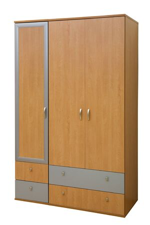 modern wooden wardrobe on a white background