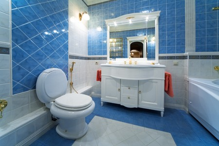 lavatory: Fashionable blue bathroom in a modern apartment